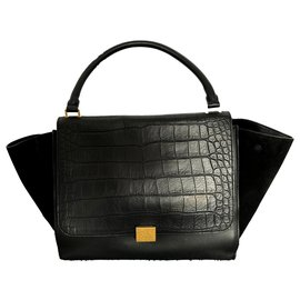 Céline-TRAPEZE embossed croco, Wide-Black