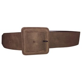 Saint Laurent-Saint Laurent belt suede-Brown