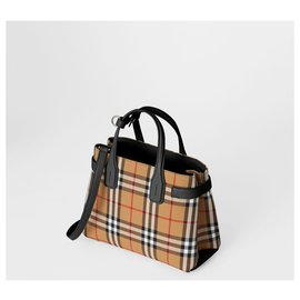 Burberry-BURBERRY The Small Banner in Vintage Check and Leather SAC BORSA-Multiple colors