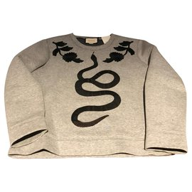 Gucci-GUCCI PULL NEW SERPENTI SNAKE GUCCI SWEATER-Grey