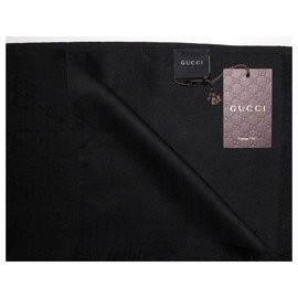 Gucci-Foulard à motif Gucci GG noir GUCCI 70% laine / soie 30%-Noir