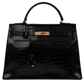 Hermès-Superb Hermes Kelly 32 black Porosus Crocodile saddle, gold-plated jewelery, In very good condition !-Black