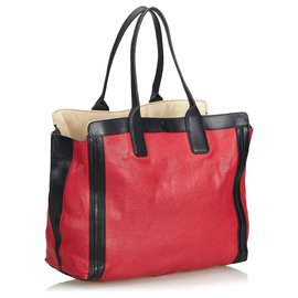 Chloé-Chloe Red Leather Alison Tote Bag-Black,Red