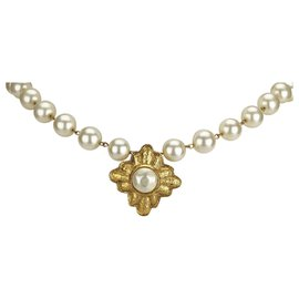 Chanel-Chanel White Faux Pearl Necklace-White,Golden,Cream
