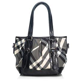 186f76eb6c2a Burberry-Burberry Black Beat Check Lowry Canvas Tote Bag-Black