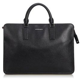 Alexander Mcqueen-Alexander Mcqueen Black Leather Heroic Briefcase-Black