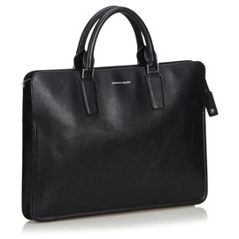 Alexander Mcqueen-Alexander Mcqueen Black Leather Heroic Briefcase-Black