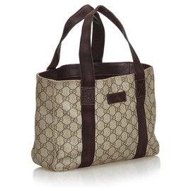 97392c82bb8b ... Gucci-Gucci Brown GG Supreme Coated Canvas Tote Bag-Brown,Beige