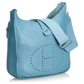 Hermès-Hermes Blue Clemence Evelyne III MM-Bleu