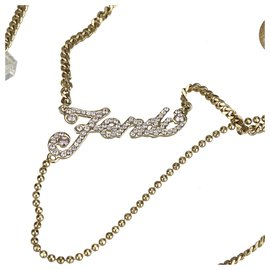 Fendi-Fendi Gold Rhinestone Necklace-Golden