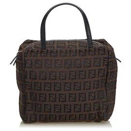 f5accfbfb84f Fendi-Fendi Brown Zucchino Canvas Handbag-Brown