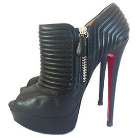 Christian Louboutin-Christian Louboutin Black Leather Futura Platform Ankle Boots-Black