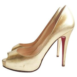 Christian Louboutin-Peep Toe Heels aus Leder von Christian Louboutin-Golden