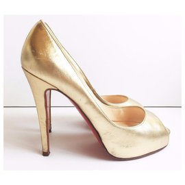 Christian Louboutin-Christian Louboutin Gold Leather Very Prive Peep Toe Heels-Golden