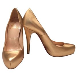 Christian Louboutin-Christian Louboutin Rolando Gold Metallic Nappa Leather Platform Pumps.-Golden