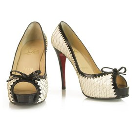 Christian Louboutin-Christian Loboutin White & Black Snakeskin Peep toe sandals platform pumps-White