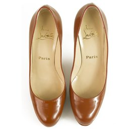 Christian Louboutin-Christian Louboutin Classic Brown leather round toe platform pumps sz 37-Brown