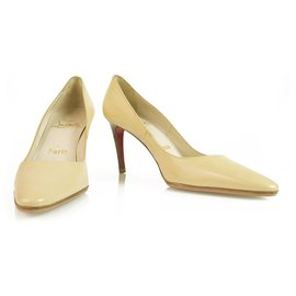 Christian Louboutin-Christian Louboutin Classic Beige leather almond toe platform pumps sz 36,5 9cm-Beige