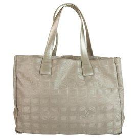 Chanel-Chanel Grey/Silver CC Nylon Travel Line Medium Tote Shopper Bag-Silvery