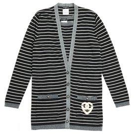 Chanel-CASHEMERE MARINIERE FR38-Dark grey