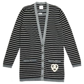 Chanel-CASHEMERE MARINIERE FR38-Gris anthracite
