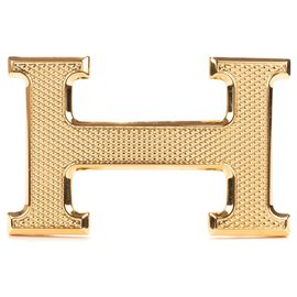 "Hermès-Hermès belt buckle ""Guilloche"" gold, new condition!-Golden"