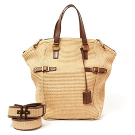 Yves Saint Laurent-DOWNTOWN STRAW BAG AND BELT-Brown,Beige,Golden