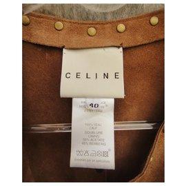 Céline-Céline studded suede waistcoat-Caramel