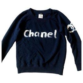 Chanel-CHANEL 2013 Christmas Limited Edition Blue Sweatshirt-Blue