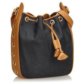 Yves Saint Laurent-YSL Black Drawstring Shoulder Bag-Brown,Black