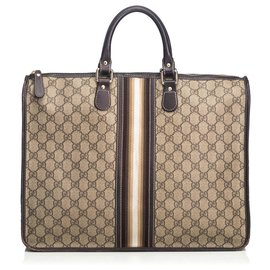 Gucci-Gucci Brown Web Briefcase-Brown,White