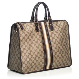 Gucci-Gucci Brown Web Aktentasche-Braun,Weiß