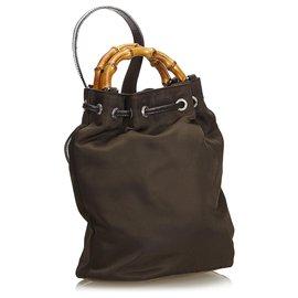 Gucci-Sac à dos à cordon en nylon et bambou brun de Gucci-Marron,Beige,Marron foncé
