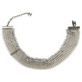 Chanel-Bracelet métallique perlé argent Chanel-Argenté