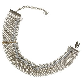 Chanel-Chanel Silver Beaded Metallic Bracelet-Silvery