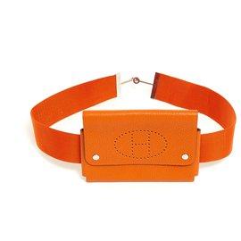 Hermès-CLUTCH ON BELT T75-Silvery,Orange