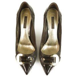 Louis Vuitton-Talons pointus en toile et cuir marron Mini Lin de Louis Vuitton 37 pompes chaussures-Marron