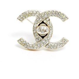 Chanel-LARGE CC SILVER RHINESTONE-Silvery