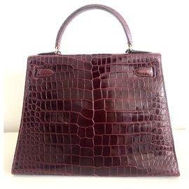 Hermès-hermes kelly 28 Crocodile Bordeaux-Dark red