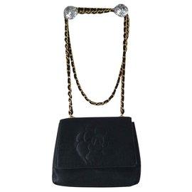 Chanel-Camellia Satin clutch-Black