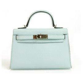 Hermès-Hermes Mini Kelly 20 II Blue Zephyr Epsom avec matériel Palladium en parfait état-Bleu clair