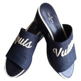 Louis Vuitton-Mule Plateforme Cascade-Bleu