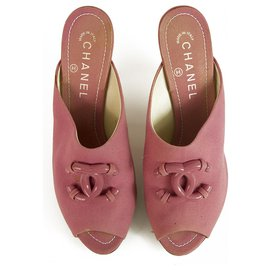 Chanel-Chanel Pink Fabric Peep toe Heels Mules with CC at vamp 9cm covered heel sz 39-Pink
