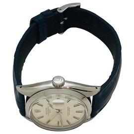 """Rolex-Montre Rolex, modèle """"Oysterdate Perpetual Date"""" en acier sur cuir.-Autre"""