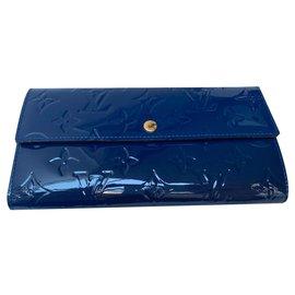 Louis Vuitton-Porte feuille SARAH Monogram Verni Bleu M61227-Bleu
