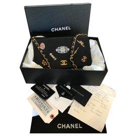 Chanel-w / tags, cartes,sac à rabat pour collectionneurs-Noir
