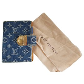 Louis Vuitton-Agenda Bleu Denim Louis Vuitton-Bleu,Doré,Jaune