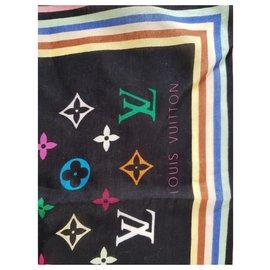 Louis Vuitton-Carré foulard monogramme-Noir