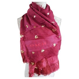 Coach-Coach Gold Heart Scarf-Pink,Golden,Dark red