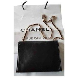 Chanel-Handbags-Black,Golden